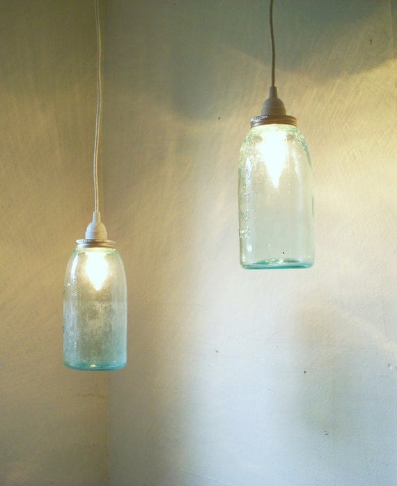 Set of 2 Mason Jar Pendant Lights Blue Half Gallon Ball Jars Hanging Lighting Fixture - Mason's Patent nov. 30th 1858 - Upcycled Wedding