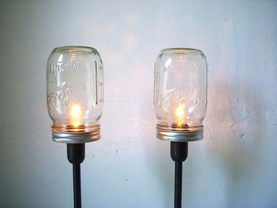 2 Mason Jar Table Lamps - Upcycled Lighting Fixtures - Mason Jar Lights - Industrial Modern Contemporary Home Decor - BootsNGus Lamp Design