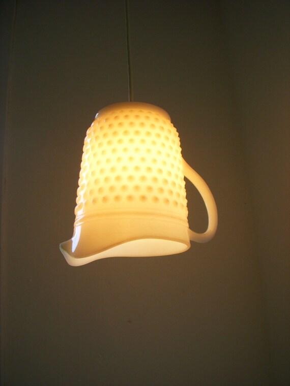 Reserved - Hobnail Milkglass Pendant Light