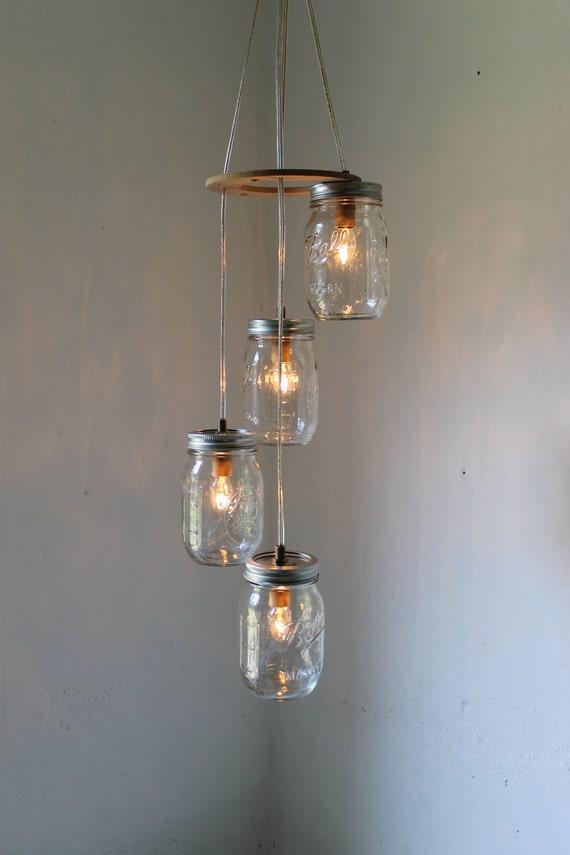 spiral mason jar chandelier rustic hanging mason jar pendant lighting fixture 4 clear pint jars bootsngus lighting u0026 decor