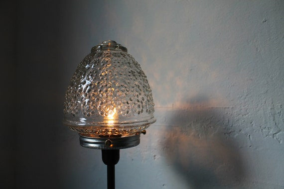 Black Metal Table Top Lamp Featuring A Clear Acorn Shaped Art Deco Glass Globe Lamp Shade  - Upcycled Modern BootsNGus Home Lighting & Decor