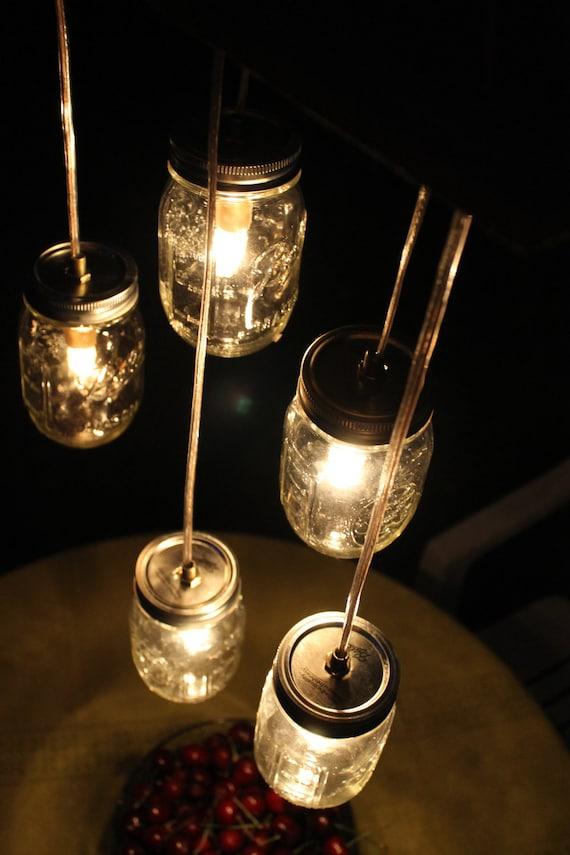 Mason Jar Lighting Mason Jar Chandelier Lights Lamps - Pint Size Mason Jar Hanging Light - Eco Friendly Wedding - Original BootsNGus Design