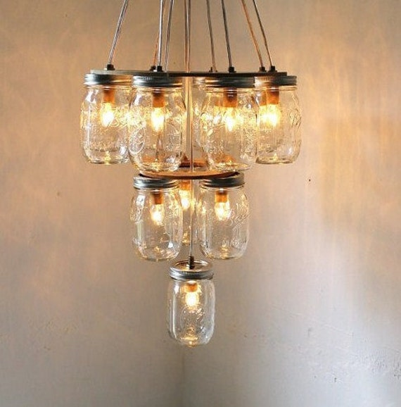 Reserved 4 GeorgiaGould - Mason Jar Lighting Hanging Swag Lamp 3 Tier Wedding Cake - Eco Friendly Original BootsNGus Design Mason Jar Lights