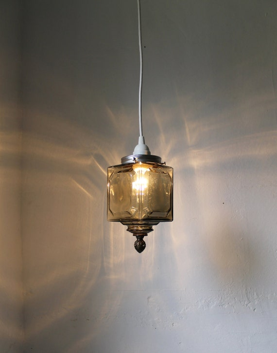 Gray Day - Upcycled Smoked Glass Hanging Pendant Lighting Fixture - Gray Glass Square Lamp Lantern - BootsNGus Lights
