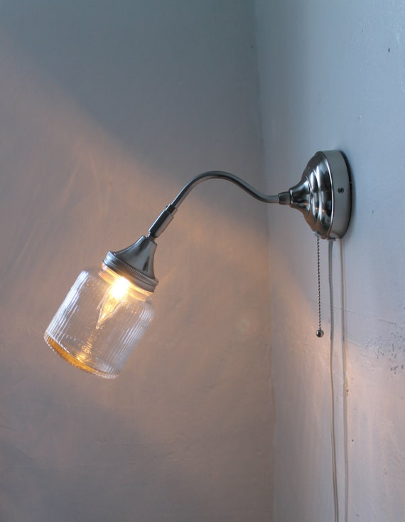 Measures - Industrial Stainless Steel Gooseneck Wall Sconce - Antique Storage Container Shade - UpCycled BootsNGus Lighting Fixture