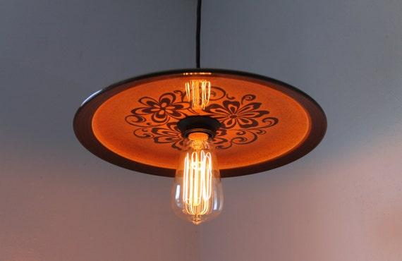 Hazelnut Halo - Vintage Ceramic Groovy Daisies Hanging Pendant Platter Light - OOAK UpCycled Shade - BootsNGus Lighting Fixture