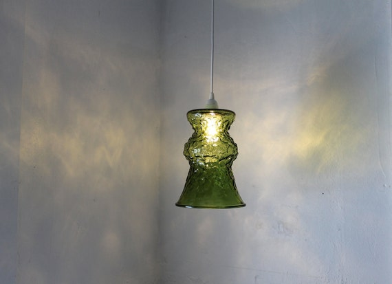 Verde - Vintage E O Brody Avocado Green Crinkled Glass Vase Hanging Pendant Lighting Fixture - Upcycled OOAK BootsNGus Lamp Light
