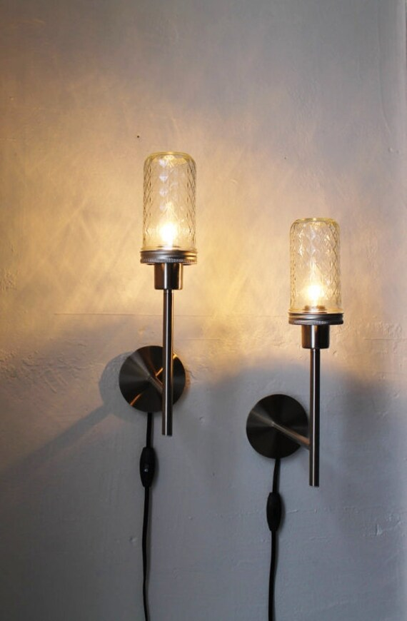 2 Mason Jar Wall Sconce Lamps - Set of Two - Industrial Stainless Steel Lights - Mens - UpCycled BootsNGus Design Lighting Fixture