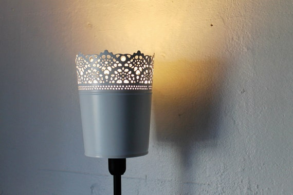 A Little Lace - Table Top Lamp Featuring A White Mesh Metal Lace Garden Pot Planter Shade - UpCycled BootsNGus Lighting Fixture