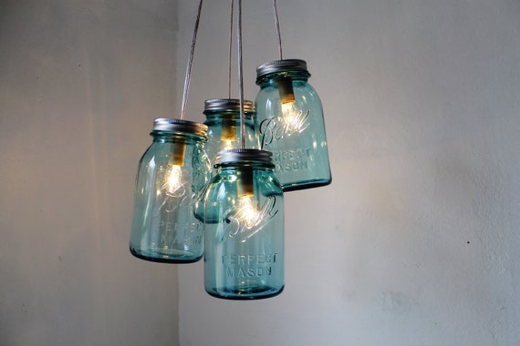 Antique Blue Mason Jar Chandelier - 4 Blue Quart Jars - Handcrafted Mason Jar Lighting Fixture - Upcycled BootsNGus Lamp - Direct Hardwire
