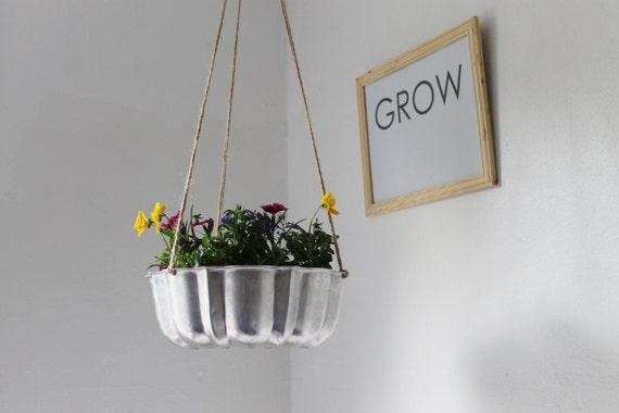 Shining Silver - UpCycled Bundt Cake Planter - Industrial Modern Reclaimed BootsNGus Hanging Flower Pot