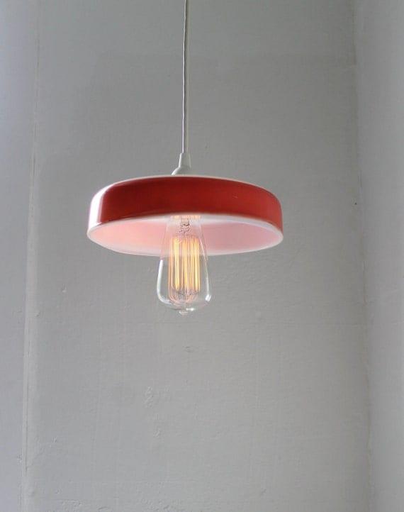 Flamingo - PYREX Hanging Pendant Lamp - Upcycled Vintage Pink Pyrex Cake Pan Casserole Dish Lighting Fixture - OOAK BootsNGus Lamp Design
