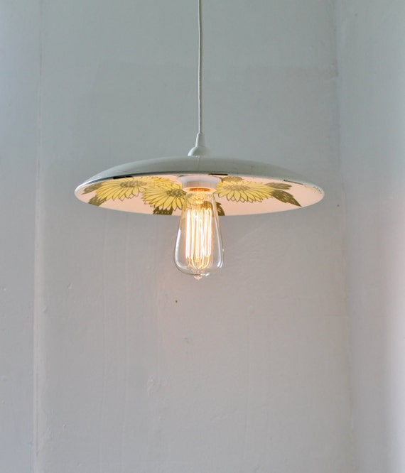 SUNSHINE - Upcycled Hanging Pendant Lamp using a Vintage Royal China Ironstone Sunshine Pattern Plate - Lighting Fixture OOAK BootsNGus Lamp