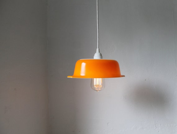 ORANGE - upcycled vintage pyrex bowl pendant light - repurposed pyrex casserole dish hanging lamp - OOAK BootsNGus lighting fixture