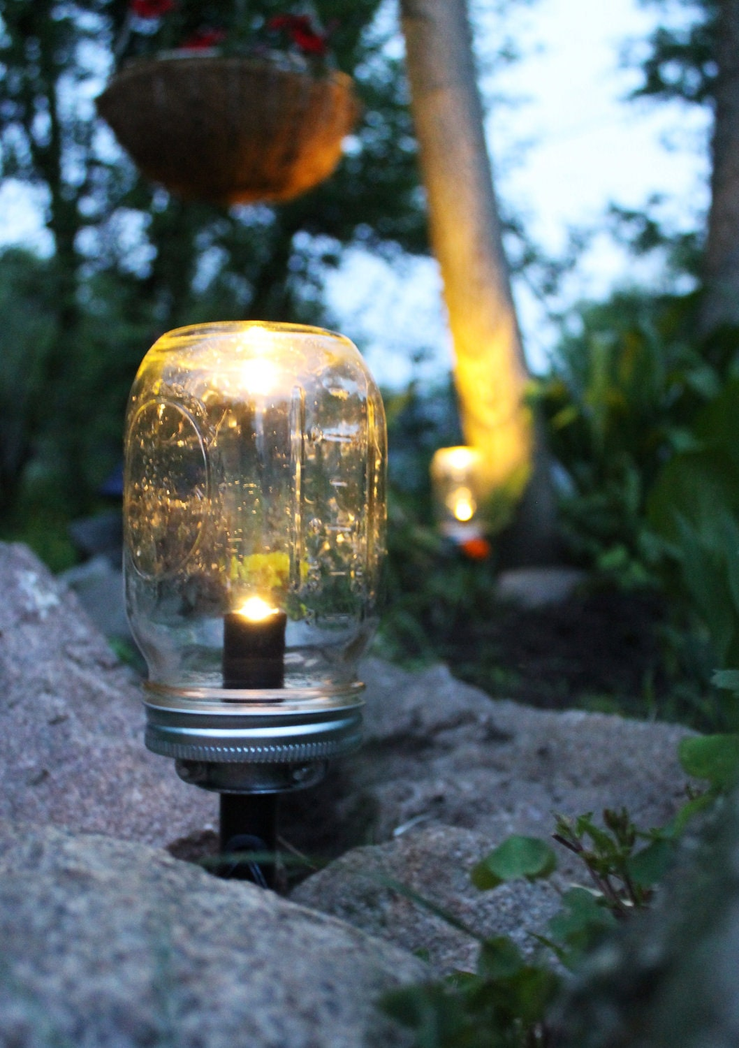 Garden With Lights: Solar Powered Mason Jar Lights Set Of 3 Eco Friendly Summer
