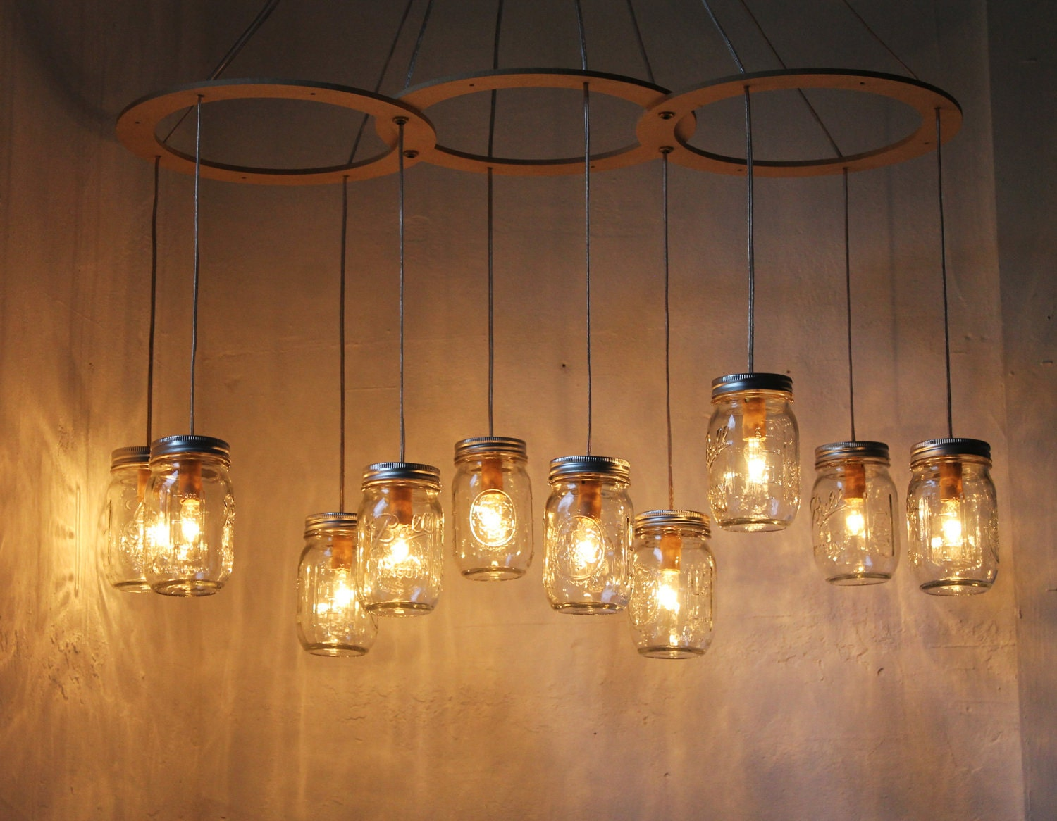 Mason jar chandelier lighting fixture large rustic mason jar for Hanging lights made from mason jars