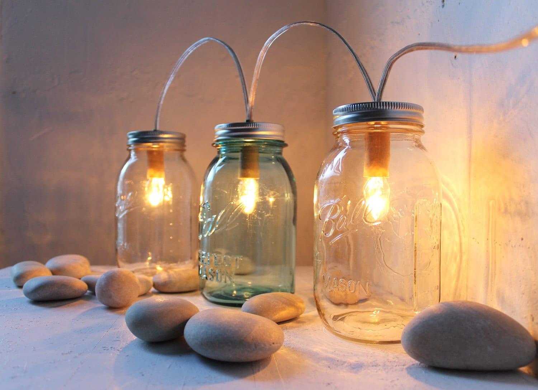 Rustic Industrial Modern Mason Jar Light Fixture Porch By: Mason Jar Banner Lights String Of Lights Modern Industrial