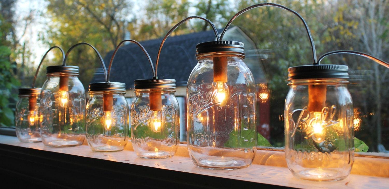 Mason Jar Lights Banner Style Modern Industrial Rustic