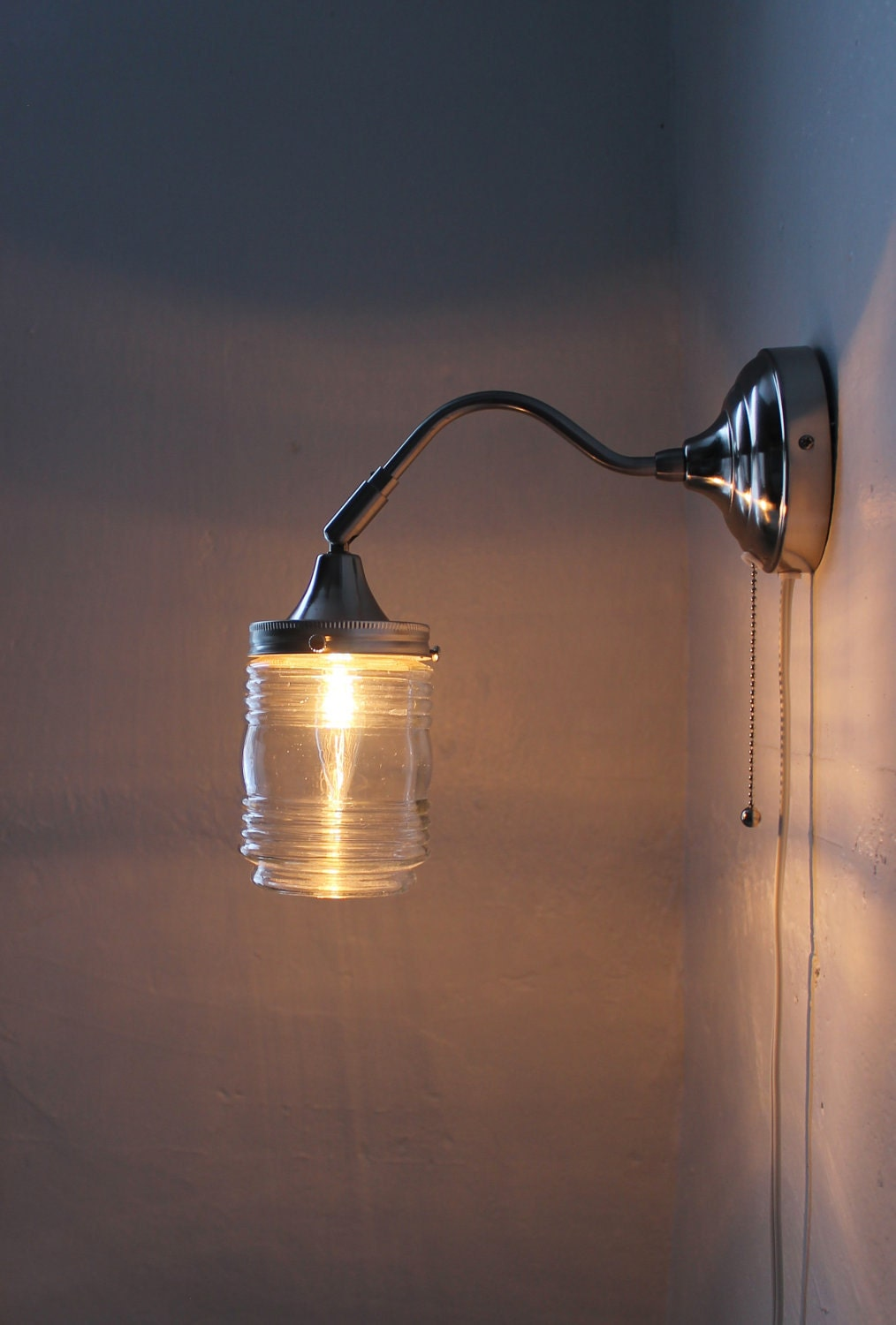 Wall Lamps Etsy : City Lights Gooseneck Wall Sconce Lamp Industrial Stainless