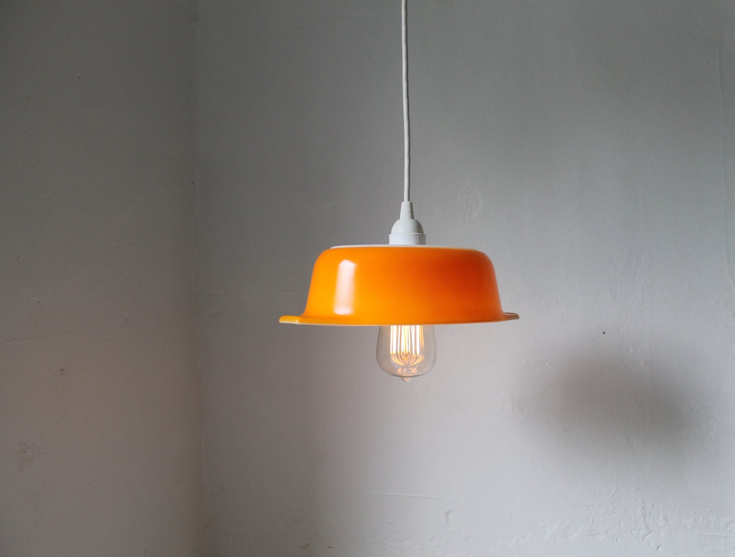 Orange Upcycled Vintage Pyrex Bowl Pendant Light