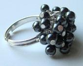 Handmade cha cha  cluster ring hematite beaded