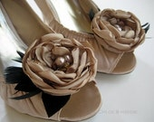 TRACY Handmade fabric flowers and feathers hand beaded shoe clips