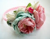 Vintage Inspired fabric flowers headband FARRAH, weddings, special occasions, photography prop