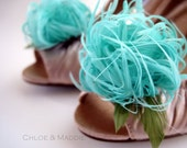 TIFFANY in aqua blue feather flower shoe clips for weddings, special occasions(set of two)