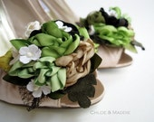 LETA  Handmade earthy floral bouquet shoe clips,  weddings, special occasions
