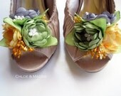 CHERISE  handmade fabric floral bouquet shoe clips for weddings, special occasions, gifts for her