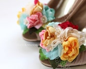 Fabric flowers floral bouquet shoe clips in aqua, pink, fuschia, yellow and creams, vintage inspired. BRIDGETTE
