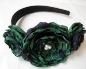 PREPPY GOSSIP GIRL STYLE Emerald Plaid Satin Headband