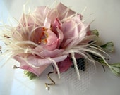 CECELIA Rose and feathers fascinator comb ONE OF A KIND