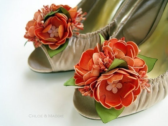 ORANGE CRUSH Flower shoe clips, weddings, special occasions
