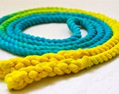 8-ft Cotton Jump Rope, Hand-Spliced, Turquoise & Yellow