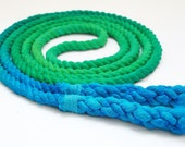 Single Jump Rope Skipping Rope, Hand-Spliced, Green & Turquoise