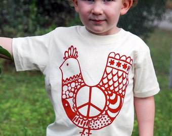 Organic Cotton Toddler Tee, Red 'Peace Chicken' Size 3T