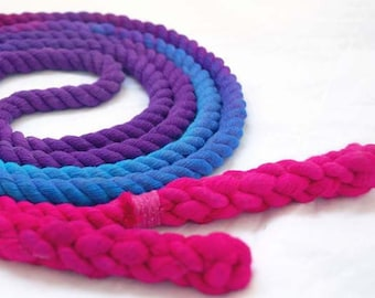 Single Jump Rope Skipping Rope, Hand-Spliced and Dyed, Purple Blue & Pink