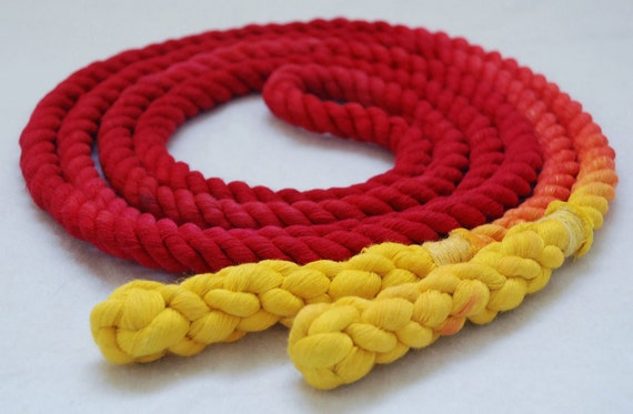 8-ft Single Jump Rope Skipping Rope, All Cotton, Hand-Spliced & Dyed, Red and Yellow