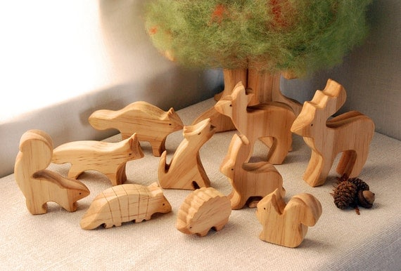 Carved Wooden Animals, Set of 10, Waldorf Inspired