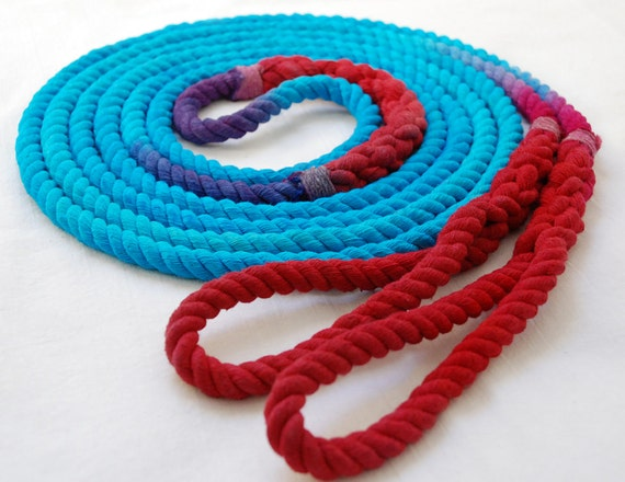 Double Dutch Jump Rope Skipping Rope, Hand-Spliced and Dyed, Turquoise & Red