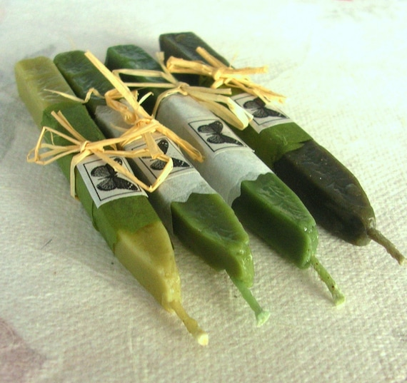 Natural Sealing / Stamp Wax 4 sticks GREEN shades for stamps, non-toxic, ECO plastic-free, gift-wrapped