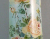 Antique Porcelain HP Floral Victorian Vase Signed Yellow Roses Limoges Style