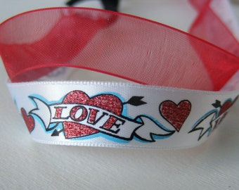 Dual ribboned head band - red and white love motif