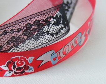 HEAD BANDERS - Papillon d'Amour - Red triple strand LOVE head band