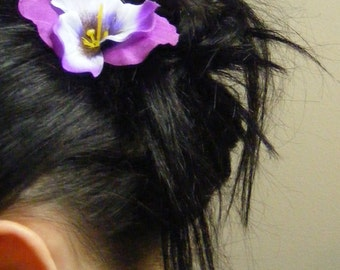 Pretty Purple PANSY - customizable on bobby pins, barrettes, combs or alligator clips