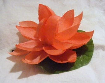 LOTUS lovers  orangey pink -  customizable on bobby pin, barrette, comb or alligator clip