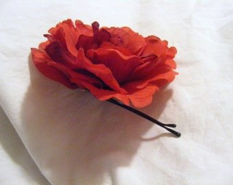 PEONY - blood red - customizable on bobby pin, barrette, comb or alligator clip