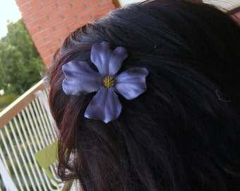Navy DOGWOOD clip - hand dyed - customizable on bobby pin, barrette, comb or alligator clip