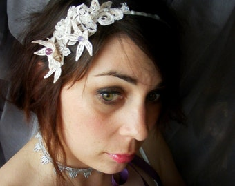 HEADBANDERS - vintage appliqué on satin band - large Swarovski crystal faceted beads